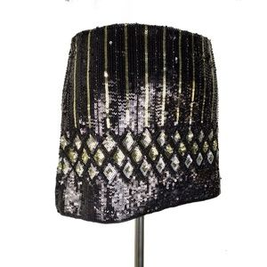 Handbook Fashion Black Gold Sequin Mini Skirt